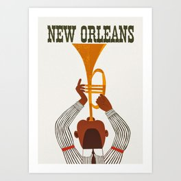New Orleans Jazz Trumpet Player Vintage Art Art Print