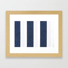 Nautical Blue White Stripes Framed Art Print