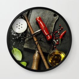 Vintage cutlery and fresh ingredients on dark background Wall Clock