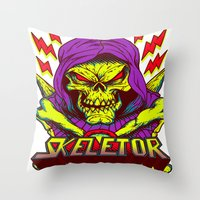 skeletor Throw Pillows featuring skeletor by Vincent Trinidad