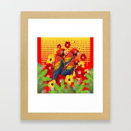 GREEN TROPICAL YELLOW MACAWS & RED YELLOW HIBISCUS Framed Art Print