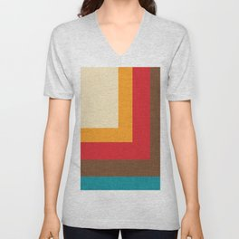 Abstract Mod Cube Beige #midcenturymodern Unisex V-Neck