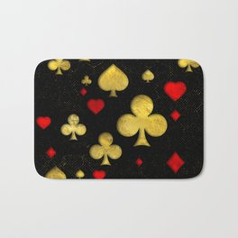 Abstract Gold and Red Suits Pattern Digital Art Bath Mat