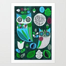 Night Owls Retro Pattern Art Print