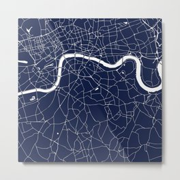 Navy on White London Street Map Metal Print