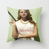 hollywood Throw Pillows featuring Hollywood by Michelle Rosario