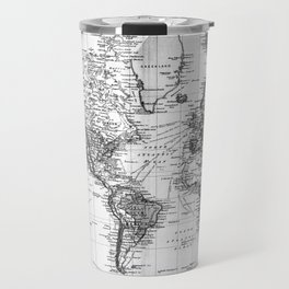Black and White World Map (1892) Travel Mug