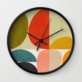 shapes of mid century geometry art Wall Clock