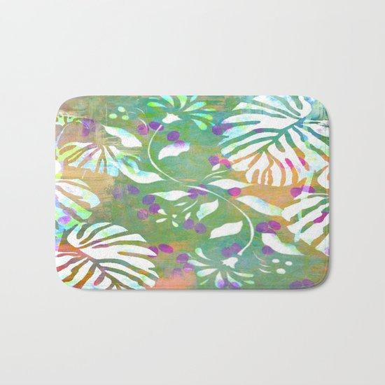 Tropical Leaf Abstract Bath Mat