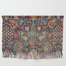 17th Century Persian Rug Print with Animals Wall Hanging