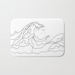 Minimal Line Art Ocean Waves Bath Mat