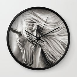 Andalusian Horse Oil Painting Monochrome Wall Clock