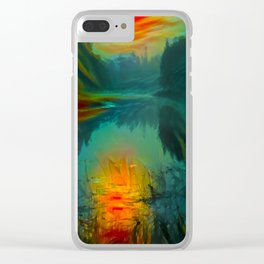 Fog on the silent river in the early morning Clear iPhone Case