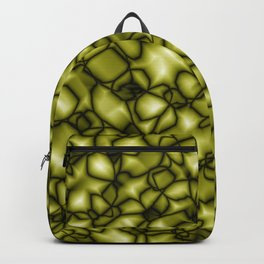 Foggy bubbly yellow surface of glass spherical molecules on dark plastic.  Backpack