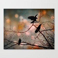 Rainy Day Crows Canvas Print