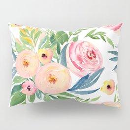 Elegant Roses Coral Pink + Green Pillow Sham