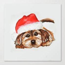 Santa Puppy Canvas Print