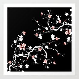 Black Cherry Blossom Art Print