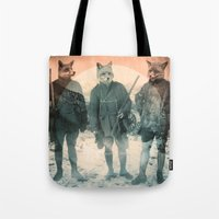 fox Tote Bags featuring Fox Hunt by Chase Kunz
