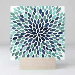 Flower Bloom, Aqua and Navy Mini Art Print