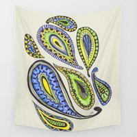 paisley Wall Tapestries featuring Paisley by Laura Maxwell