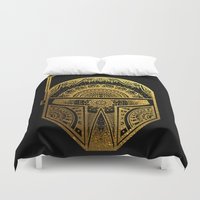gold foil Duvet Covers featuring Mandala BobaFett - Gold Foil by Spectronium - Art by Pat McWain
