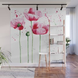 Expressive poppies || watercolor Wall Mural