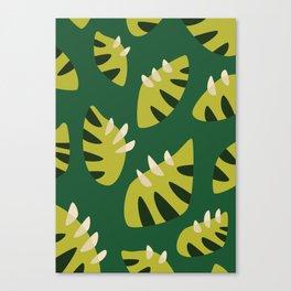 Pretty Clawed Green Leaf Pattern Canvas Print