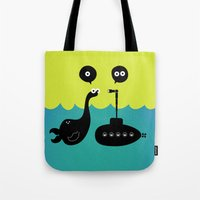 submarine Tote Bags featuring Submarine by Michael Goodson
