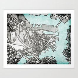 Abstract Map - Charlestown (Boston) Art Print