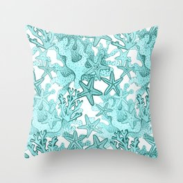 Star fish and coral reef in teal blue Throw Pillow