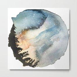 Night pine watercolour Metal Print