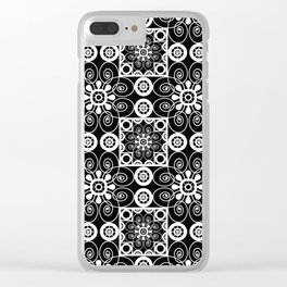 Retro .Vintage . Black and white openwork ornament . Clear iPhone Case