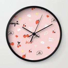 Girl In Love Pattern Wall Clock
