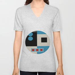 Abstract in Blue, Black, Red and Beige. See Companion Piece Unisex V-Neck
