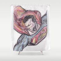 man of steel Shower Curtains featuring Man of Steel by jamestomgray