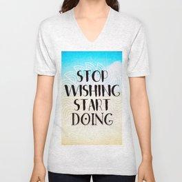 Stop Wishing Start Doing - Boho Gypsy Mandala Unisex V-Neck