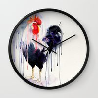 rooster Wall Clocks featuring Rooster  by Slaveika Aladjova