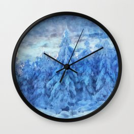 Magical winter forest Wall Clock