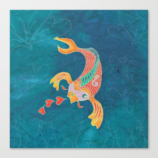Breathing Love - Goldfish, Koi, Hearts Canvas Print
