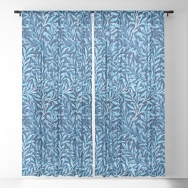 William Morris Willow Bough, Cobalt and Navy Blue Sheer Curtain