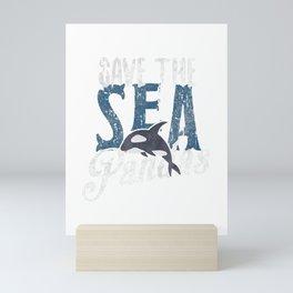 Save The Sea Pandas T Shirt Orca Tee Earth Day Gift Mini Art Print