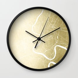 Bangkok Thailand Minimal Street Map - Gold Metallic and White Wall Clock