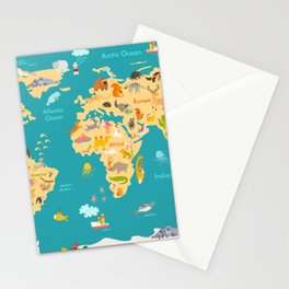 Animal map for kid. World vector poster for children, cute illustrated Stationery Cards