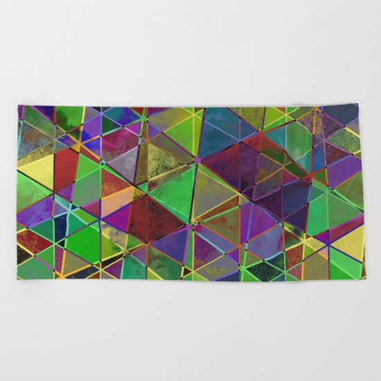 Tangled Triangles - Abstract, textured, geometric design Beach Towel