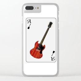 Solid Guitar Playing Card Clear iPhone Case