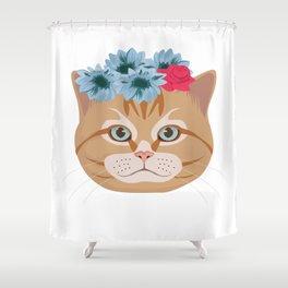 Cat Lover Kitten Flower Summer Sun Feline Gift Shower Curtain