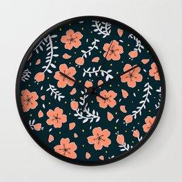 dark sakura blossoms Wall Clock