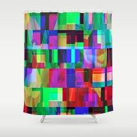 glitch Shower Curtains featuring GLITCH by C O R N E L L