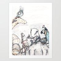 Animal pile  Art Print